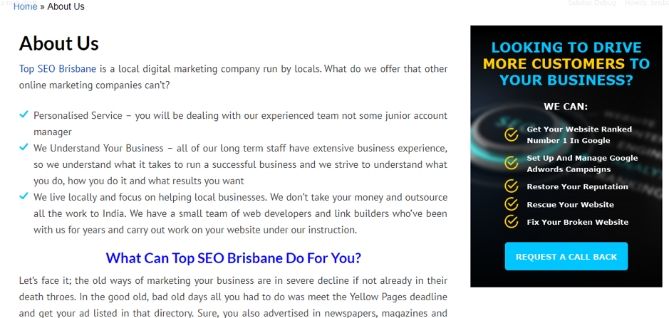 about us page - top seo brisbane